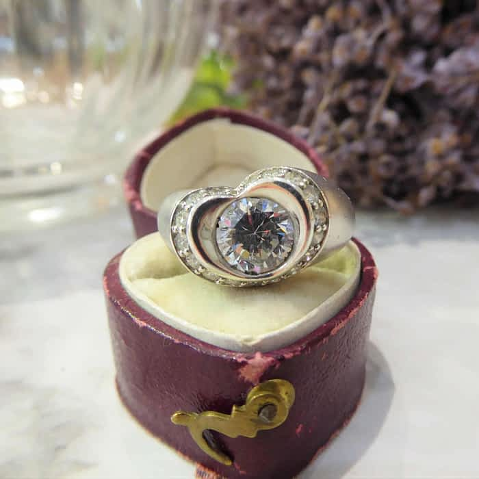 Vintage Silver Ring, CZ Heart Shape Ring