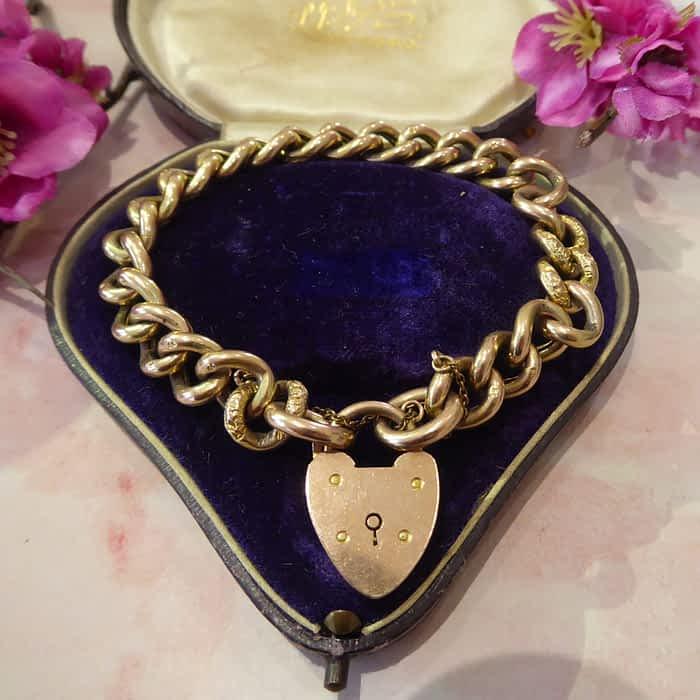 Antique Gold Bracelet, Victorian Curb Bracelet, 9ct Gold