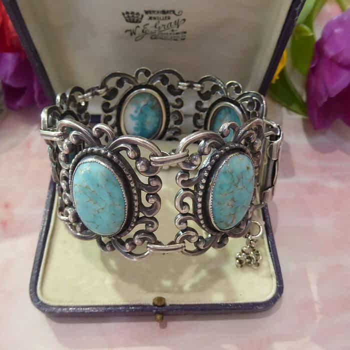 Vintage Silver and Turquoise Bracelet, Danecraft