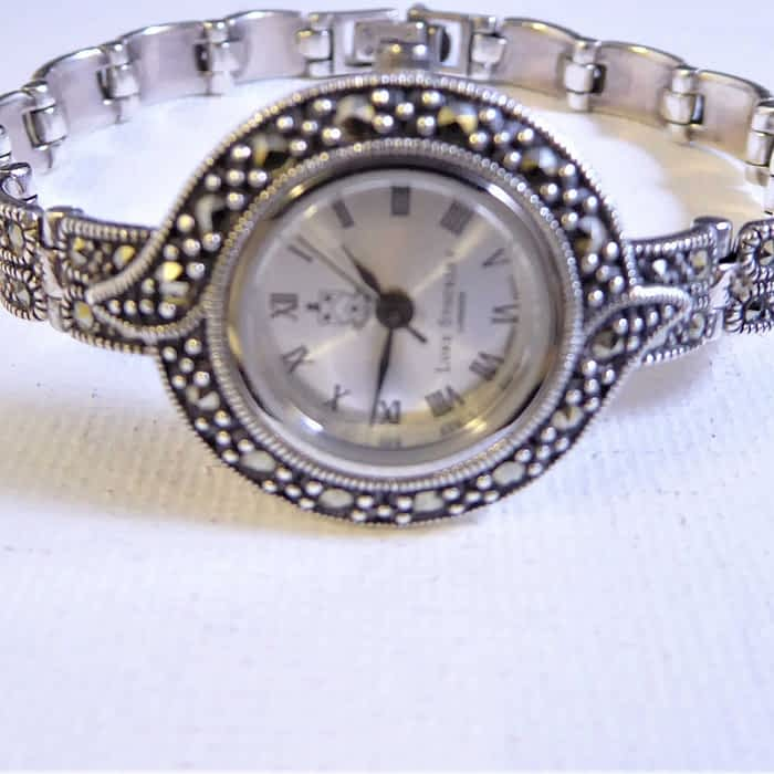 silver and marcasite watch with bracelet strap