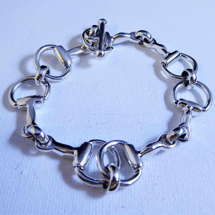 silver link bracelet with T bar fastening