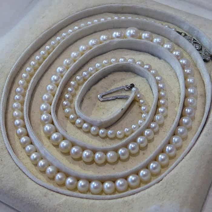 Antique Pearl Necklace, Diamond Clasp, Art Deco, Mappin & Webb