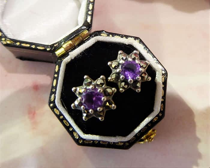 silver, marcasite and amethyst star design vintage style stud earrings