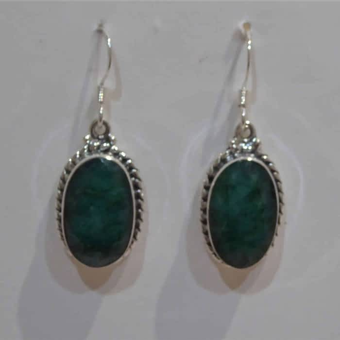 silver and emerald drop earrings
