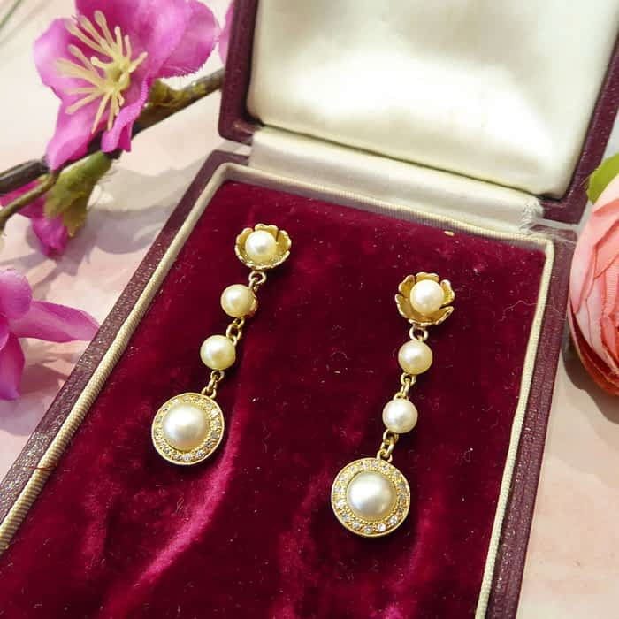 Antique Gold Earrings, Pearl, Diamond, Victorian