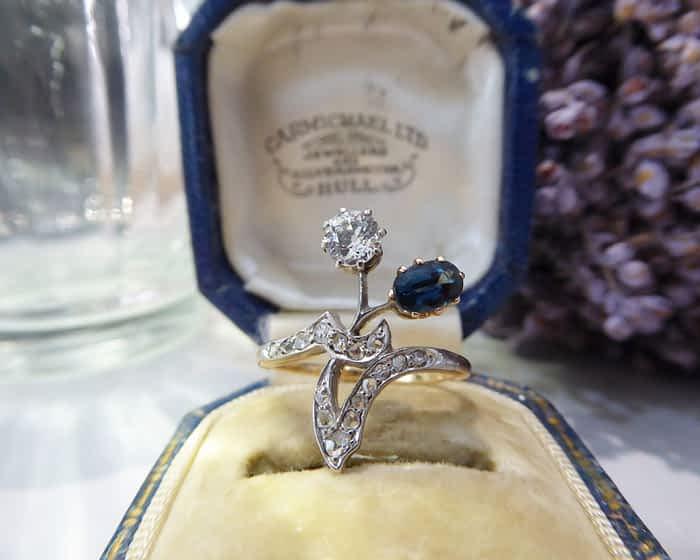 Art Nouveau Sapphire & Diamond Ring, 18ct Gold & Silver