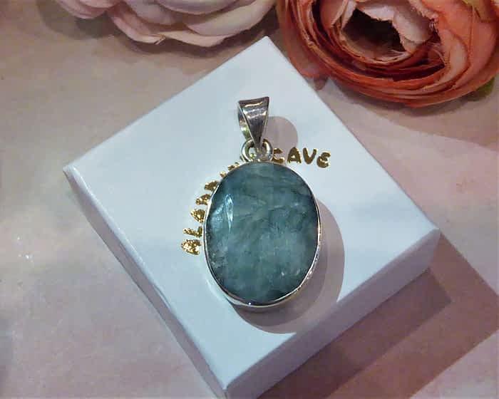 Silver & Cabochon Emerald Oval Pendant
