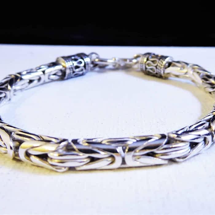 7 inch byzantine silver bracelet
