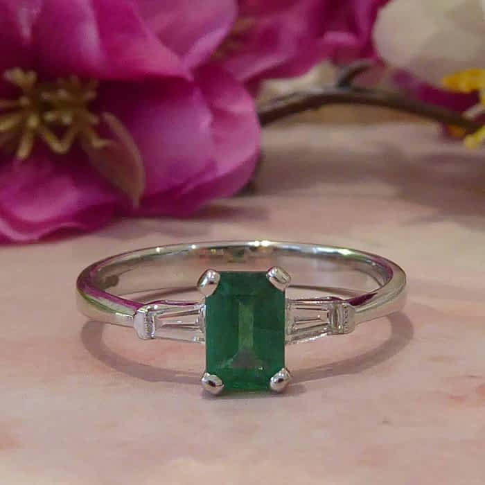 Emerald and Diamond Ring, Art Deco Style White Gold Ring