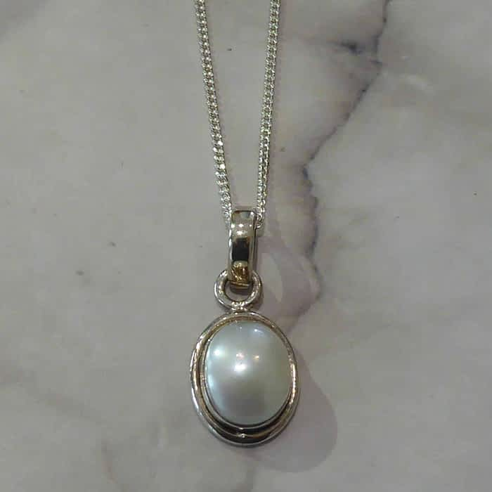 Silver and Pearl Pendant and Chain