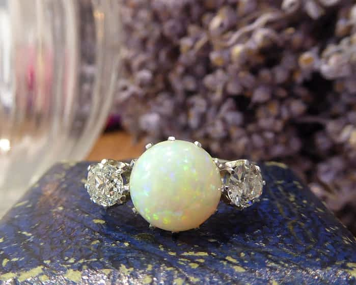 Art Deco Opal and Diamond Ring, 18ct White Gold