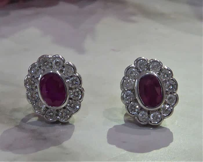 18ct white gold, ruby and diamond studs