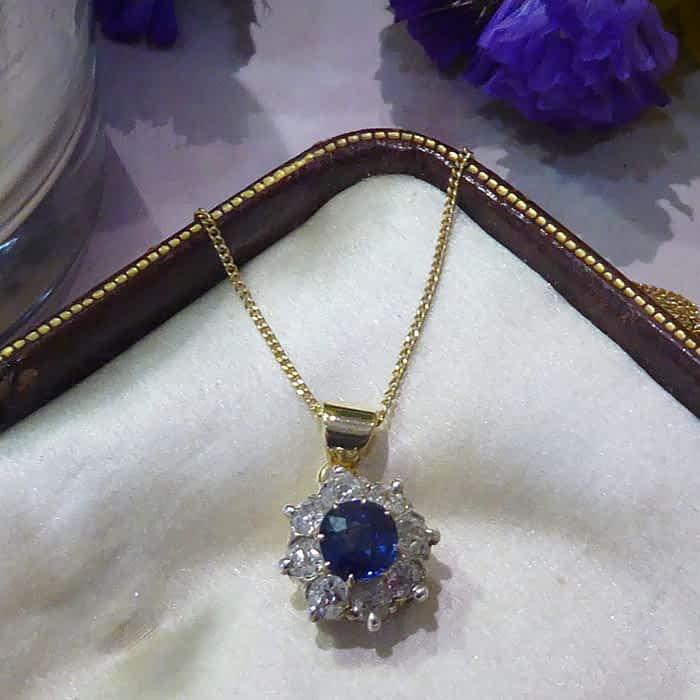 Antique Sapphire & Diamond Necklace, Victorian, 15ct gold