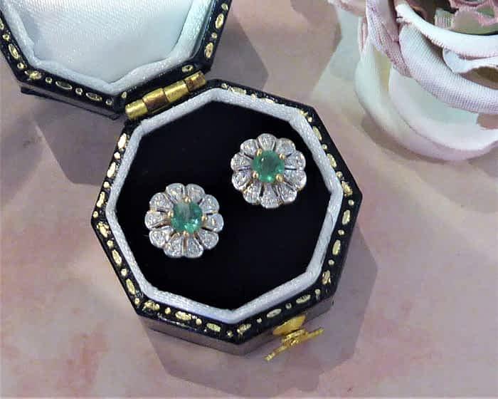 Vintage Style Emerald & Diamond Stud Earrings, 9ct Gold