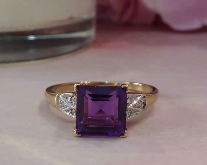 Vintage style 9ct gold, amethyst and diamond ring