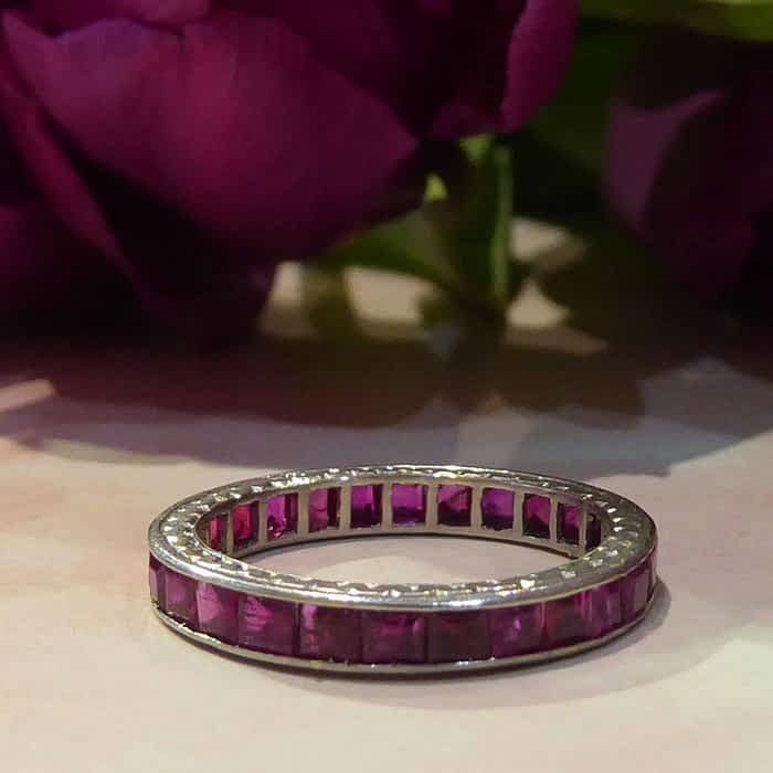 Art Deco Ruby and Platinum Eternity Ring