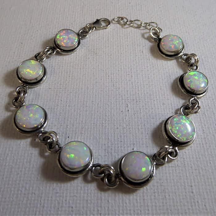 silver and opal bracelet