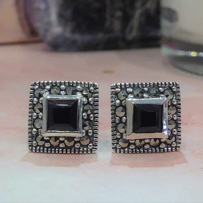 silver, garnet and marcasite square stud earrings