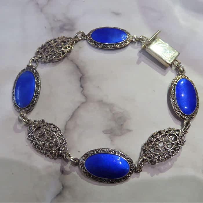 1920s silver and enamel bracelet
