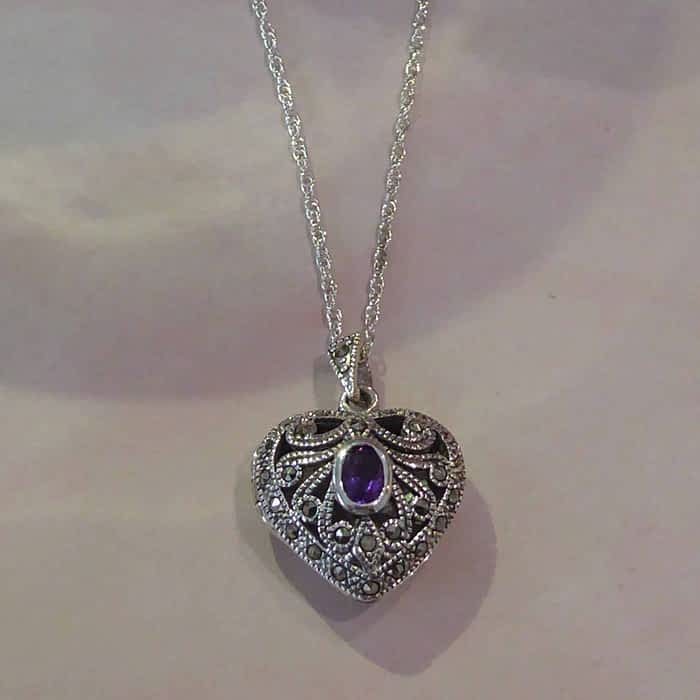 silver, marcasite and amethyst vintage style locket and chain
