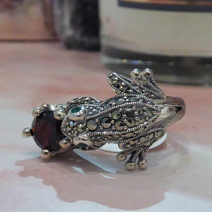 silver, marcasite and garnet frog ring