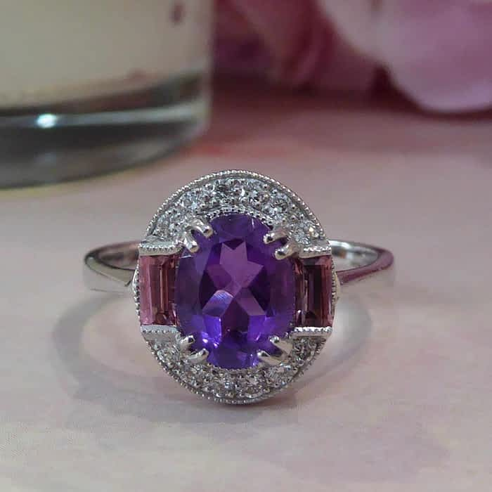 Vintage style 9ct white gold, amethyst, tourmaline and diamond ring