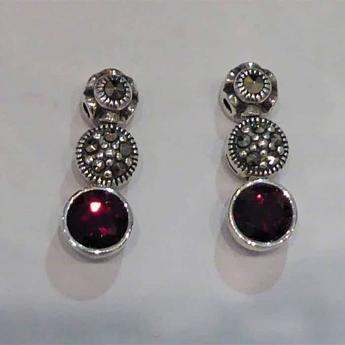 silver, marcasite and garnet three stone earrings