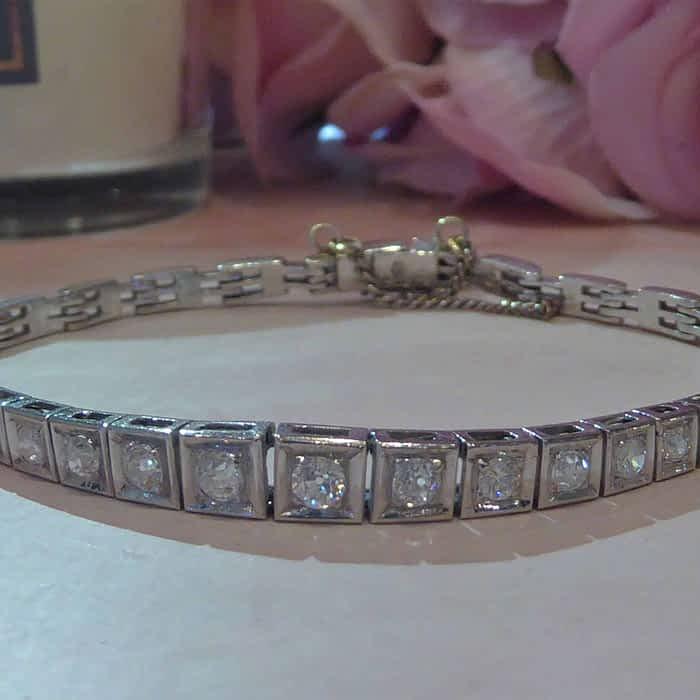 Victorian 18ct white gold and diamond bracelet