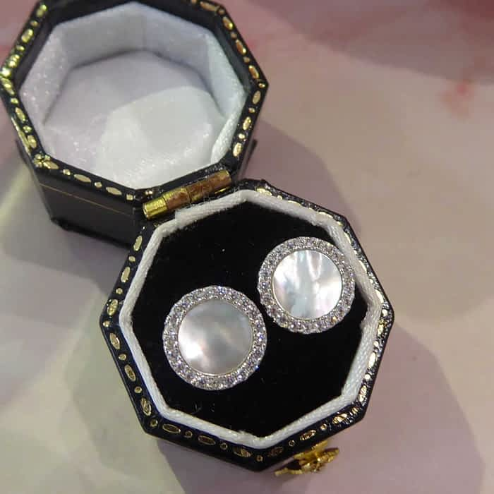 silver, cubic zirconia and mother of pearl stud earrings