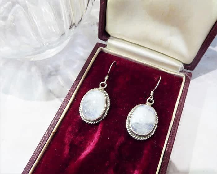 Antique Silver Moonstone Earrings, 1930s
