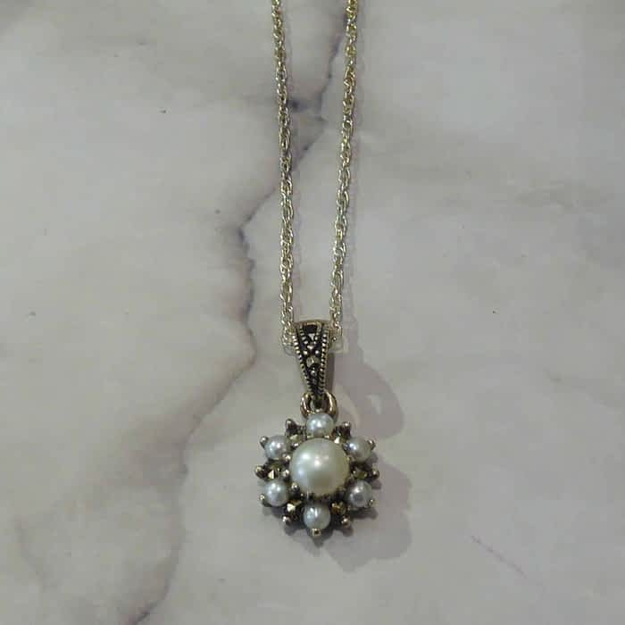 Silver and Pearl Pendant and Chain, Marcasite, Vintage Style