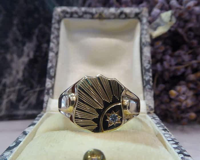 Vintage 9ct Gold Signet Ring, 1963