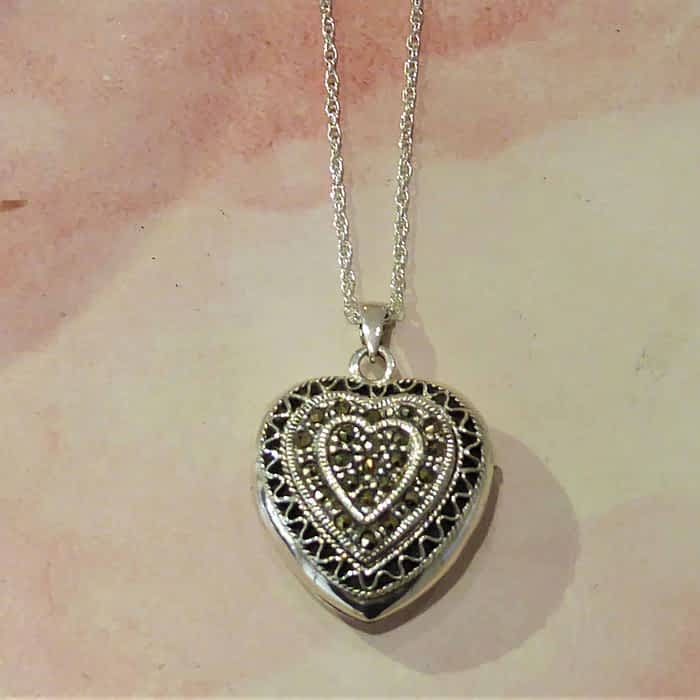 Vintage Style Silver and Marcasite Heart Locket and Chain