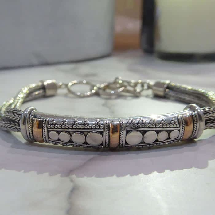 silver and 18ct gold bracelet