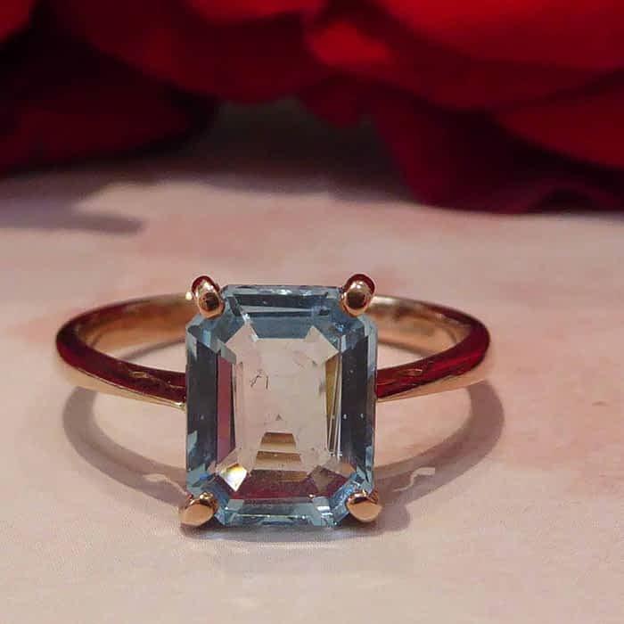 Rose Gold and Aquamarine Ring, 9ct