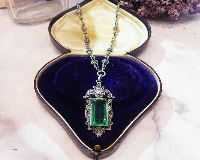 Art Deco Silver Necklace, Marcasite, Paste