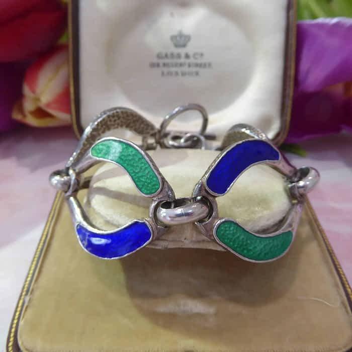 Vintage Silver and Enamel Bracelet, circa 1950s