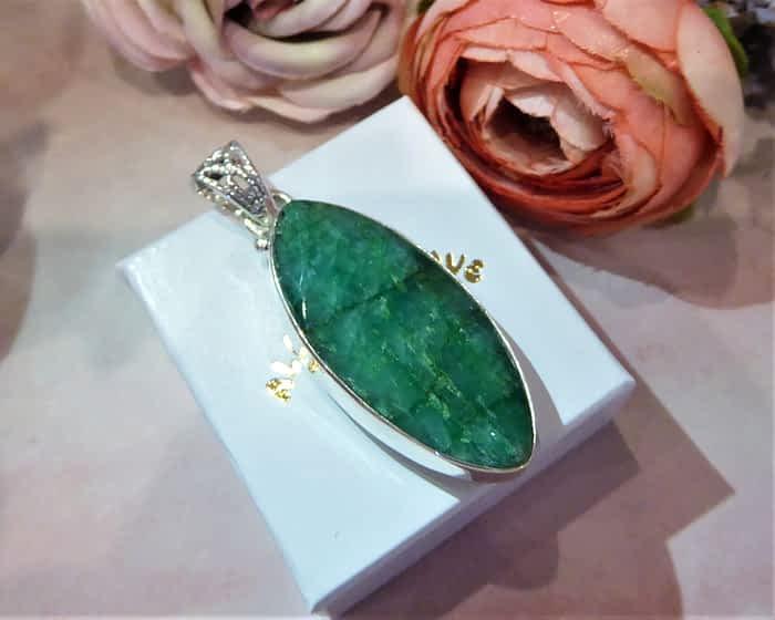 Silver & Cabochon Emerald Pendant