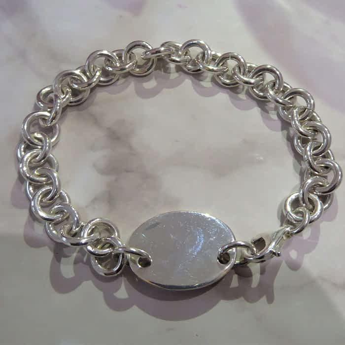 silver round link ID bracelet