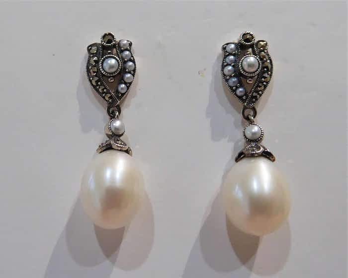 vintage style silver, marcasite and pearl earrings