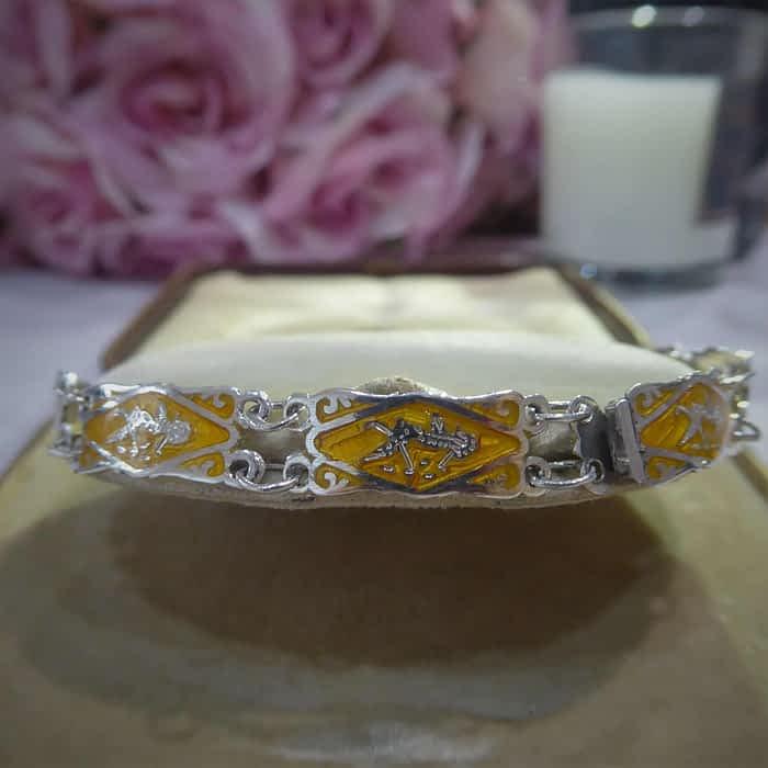 1930s silver and enamel bracelet