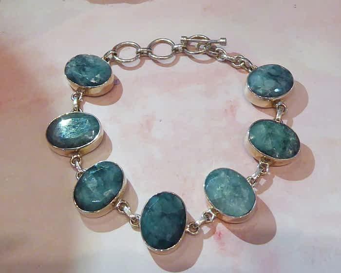 Silver & Emerald Bracelet, Large Oval Stones