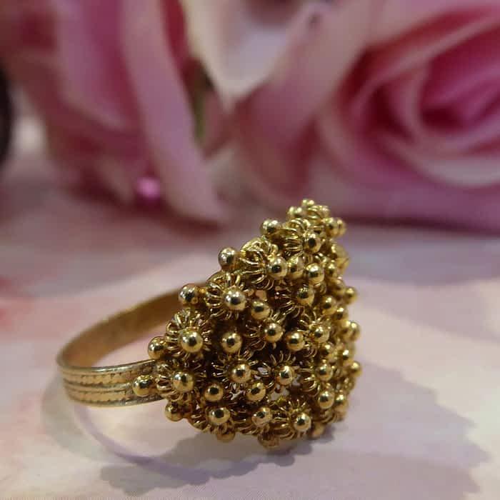Vintage silver gilt ring