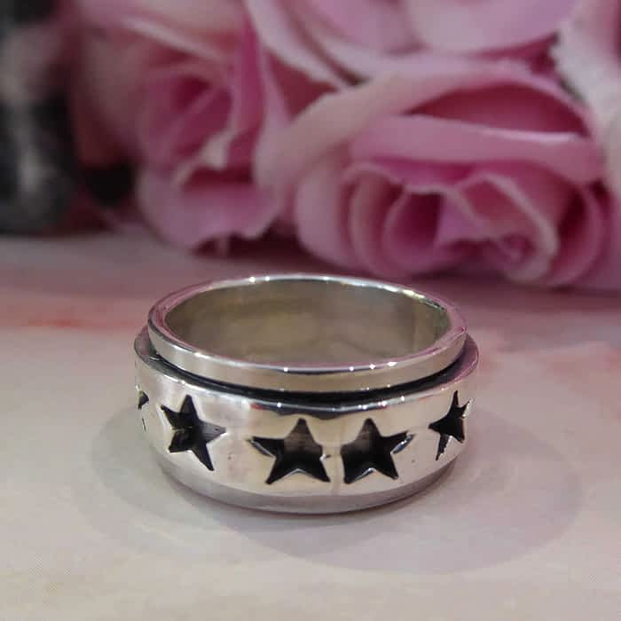 silver star design silver band ring
