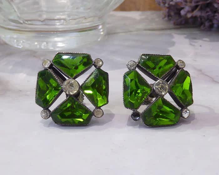 Art Deco Silver Earrings, Paste, Screw Back Stud Earrings