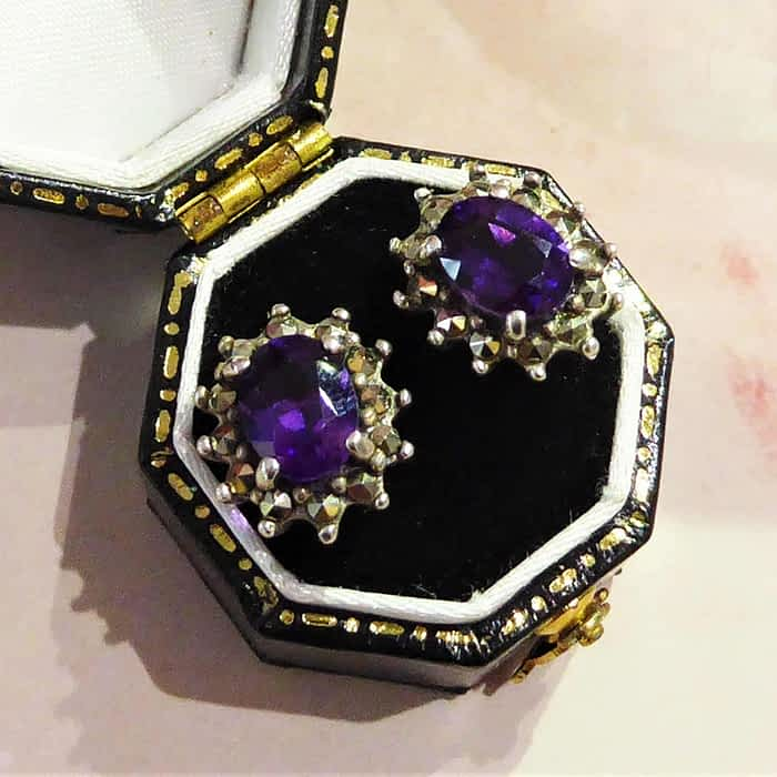 silver, amethyst and marcasite stud earrings