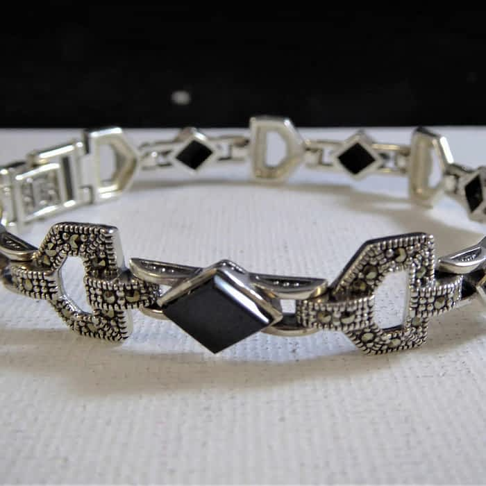 silver, marcasite and onyx bracelet