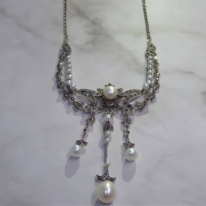 silver, marcasite and pearl vintage style choker necklace