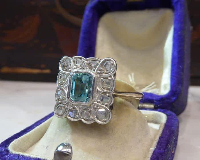 Art Deco Aquamarine & Diamond Ring, 18ct Yellow Gold
