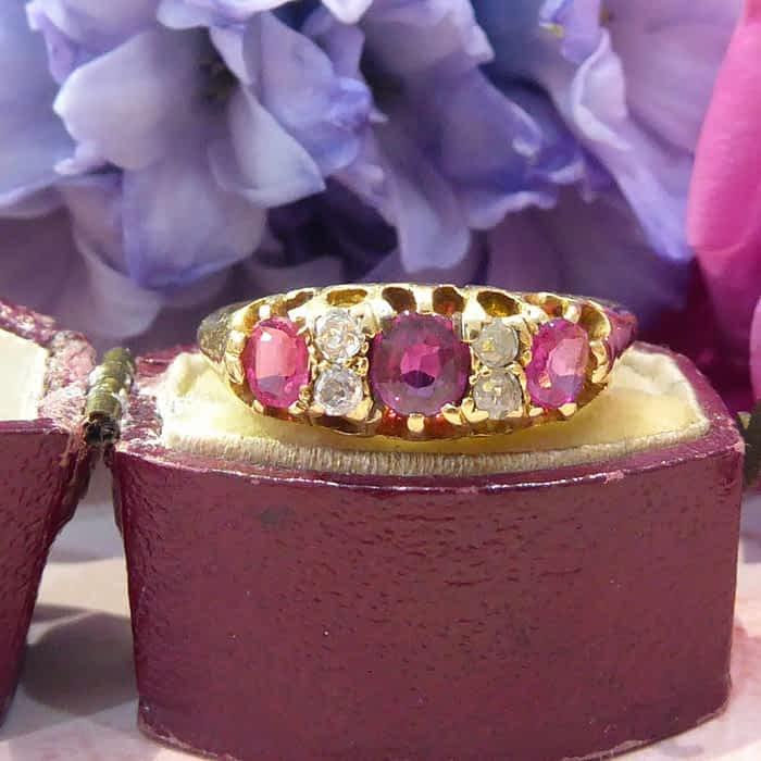 Victorian 18ct gold, Ruby and Diamond ring